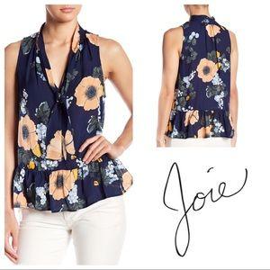 Joie Estero Tie-Neck Sleeveless Floral Blouse
